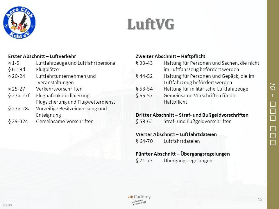 V3.00 10 – Air Law LuftVG 15 Erster Abschnitt – Luftverkehr § 1-5Luftfahrzeuge und Luftfahrtpersonal § 6-19dFlugplätze § 20-24Luftfahrtunternehmen und