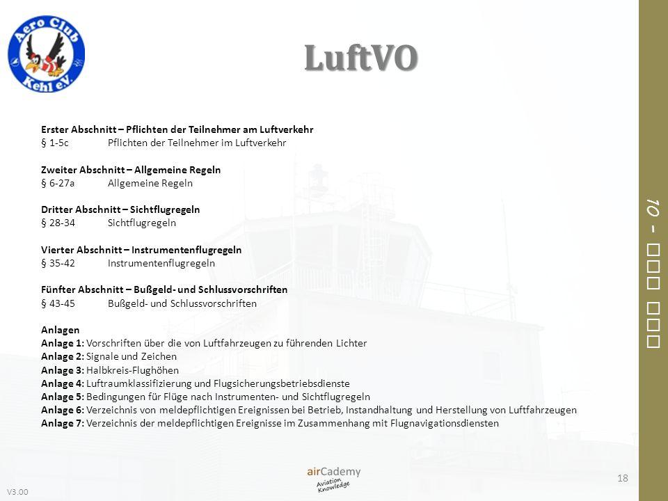 V3.00 10 – Air Law LuftVO 18 Erster Abschnitt – Pflichten der Teilnehmer am Luftverkehr § 1-5cPflichten der Teilnehmer im Luftverkehr Zweiter Abschnit