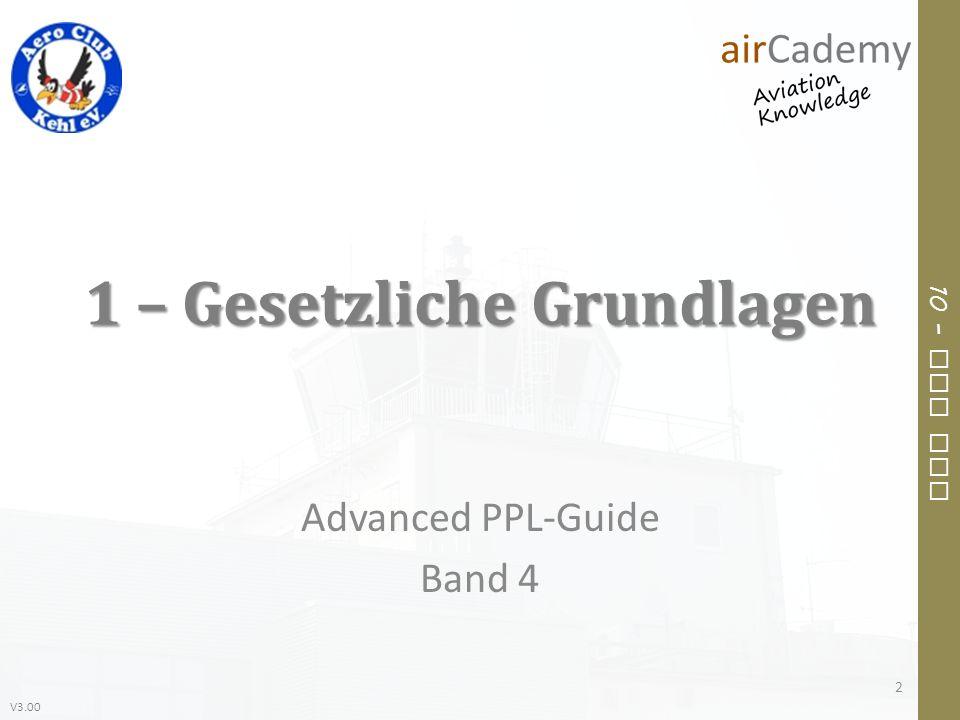 V3.00 10 – Air Law 1 – Gesetzliche Grundlagen Advanced PPL-Guide Band 4 2