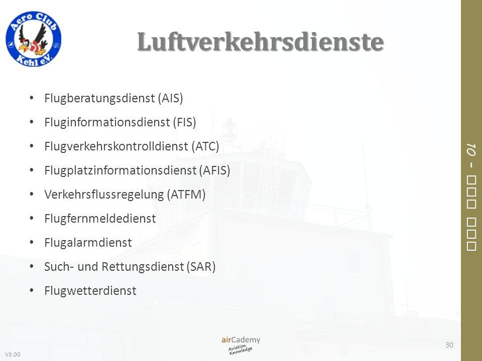 V3.00 10 – Air Law Luftverkehrsdienste Flugberatungsdienst (AIS) Fluginformationsdienst (FIS) Flugverkehrskontrolldienst (ATC) Flugplatzinformationsdi