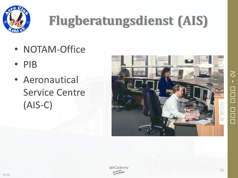 V3.00 10 – Air Law Flugberatungsdienst (AIS) NOTAM-Office PIB Aeronautical Service Centre (AIS-C) 31