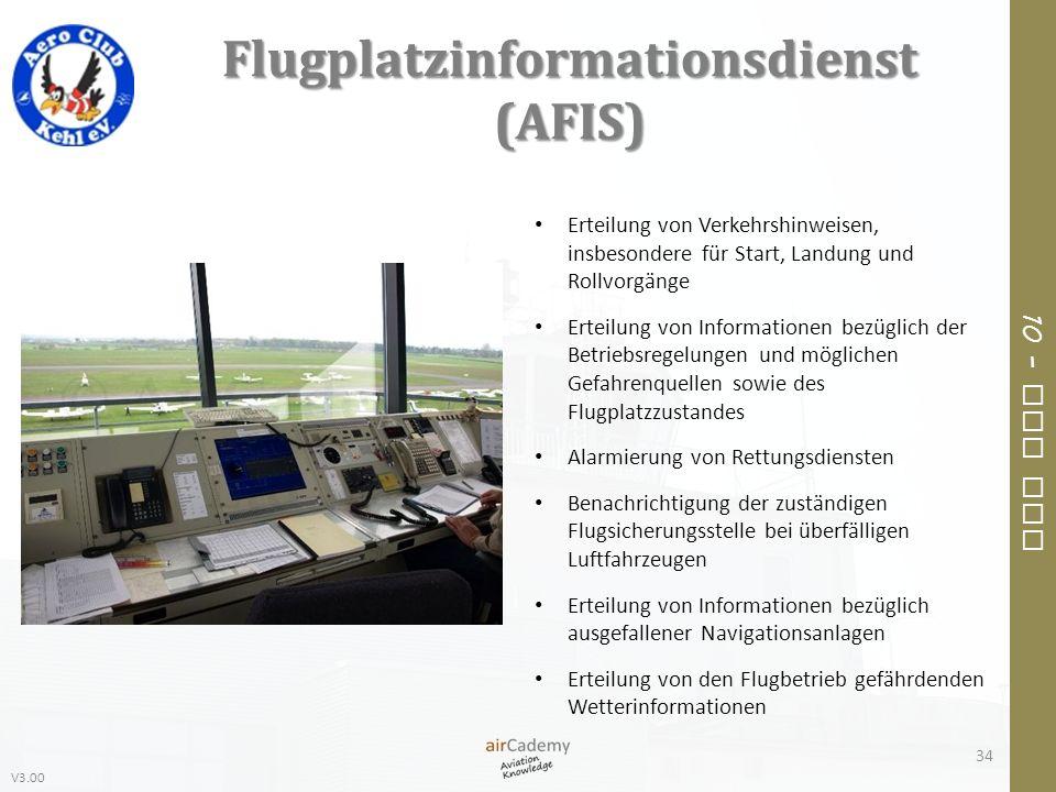 V3.00 10 – Air Law Flugplatzinformationsdienst (AFIS) 34 Erteilung von Verkehrshinweisen, insbesondere für Start, Landung und Rollvorgänge Erteilung v