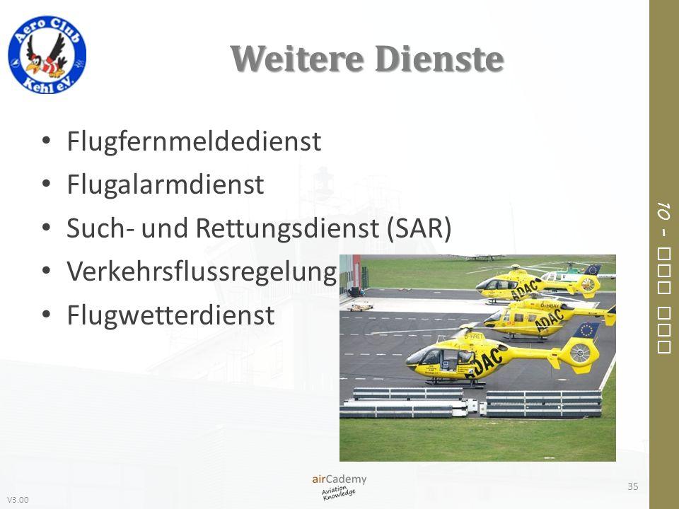 V3.00 10 – Air Law Weitere Dienste Flugfernmeldedienst Flugalarmdienst Such- und Rettungsdienst (SAR) Verkehrsflussregelung Flugwetterdienst 35