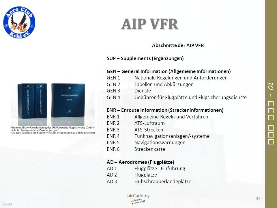 V3.00 10 – Air Law AIP VFR 38 Abschnitte der AIP VFR SUP – Supplements (Ergänzungen) GEN – General Information (Allgemeine Informationen) GEN 1Nationa