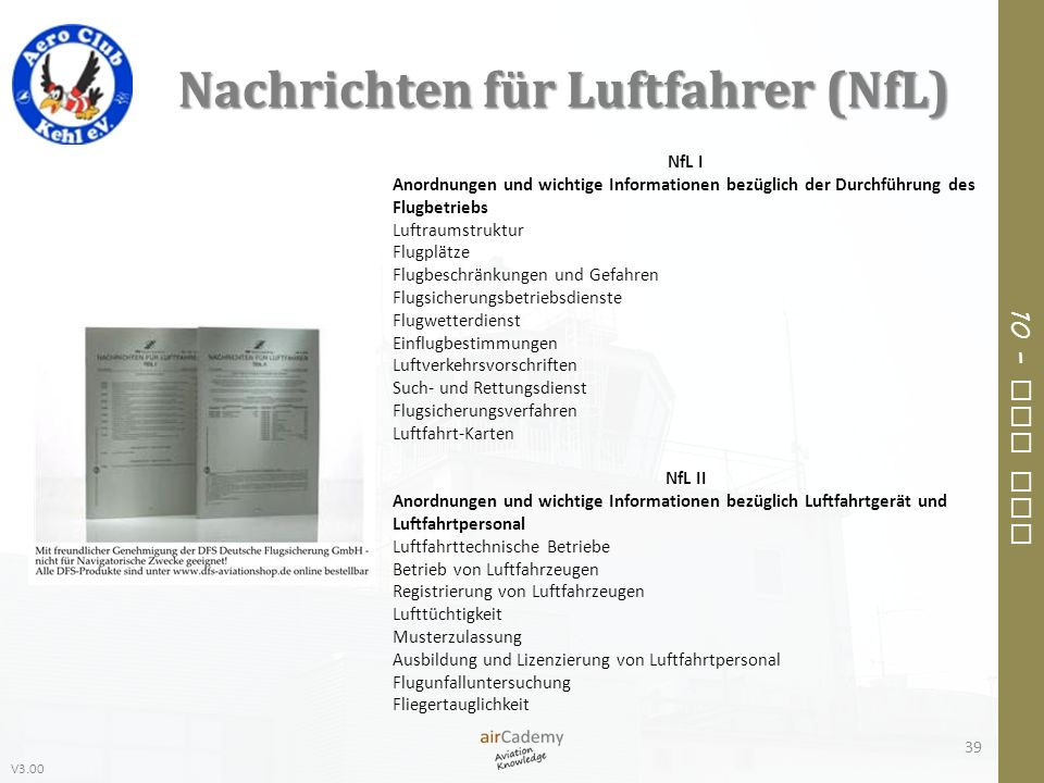 V3.00 10 – Air Law Nachrichten für Luftfahrer (NfL) 39 NfL I Anordnungen und wichtige Informationen bezüglich der Durchführung des Flugbetriebs Luftra