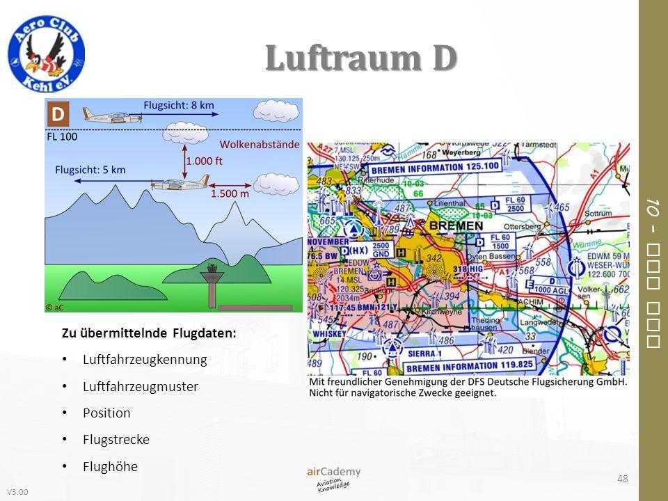 V3.00 10 – Air Law Luftraum D Zu übermittelnde Flugdaten: Luftfahrzeugkennung Luftfahrzeugmuster Position Flugstrecke Flughöhe 48