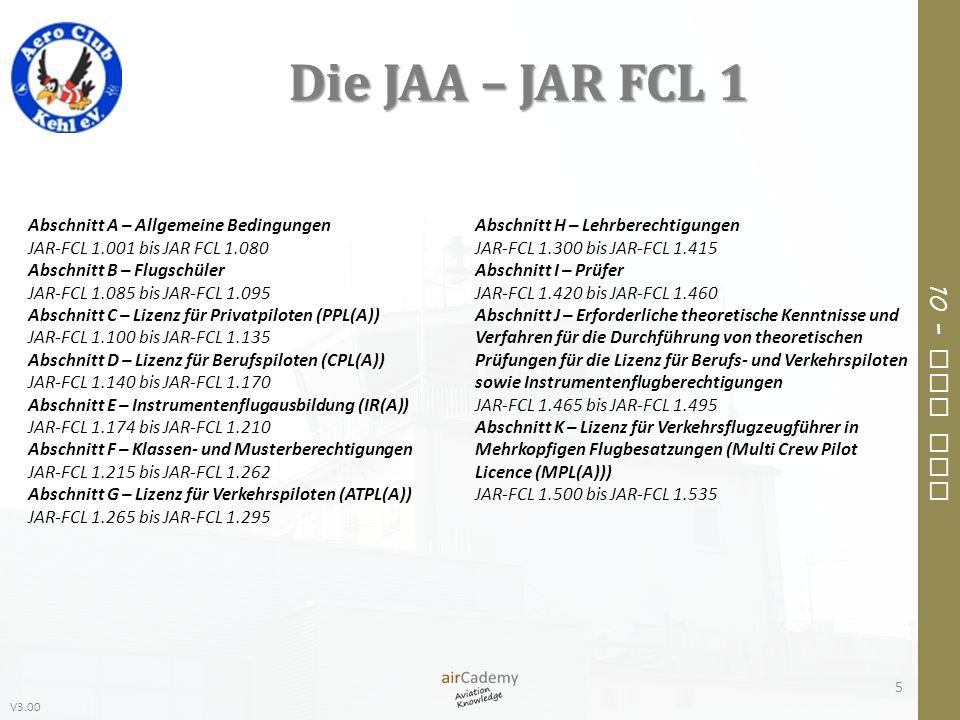 V3.00 10 – Air Law Die JAA – JAR FCL 1 5 Abschnitt H – Lehrberechtigungen JAR-FCL 1.300 bis JAR-FCL 1.415 Abschnitt I – Prüfer JAR-FCL 1.420 bis JAR-F