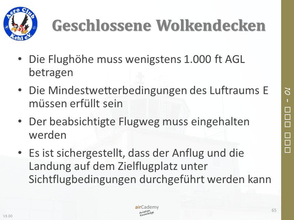 V3.00 10 – Air Law Geschlossene Wolkendecken Die Flughöhe muss wenigstens 1.000 ft AGL betragen Die Mindestwetterbedingungen des Luftraums E müssen er