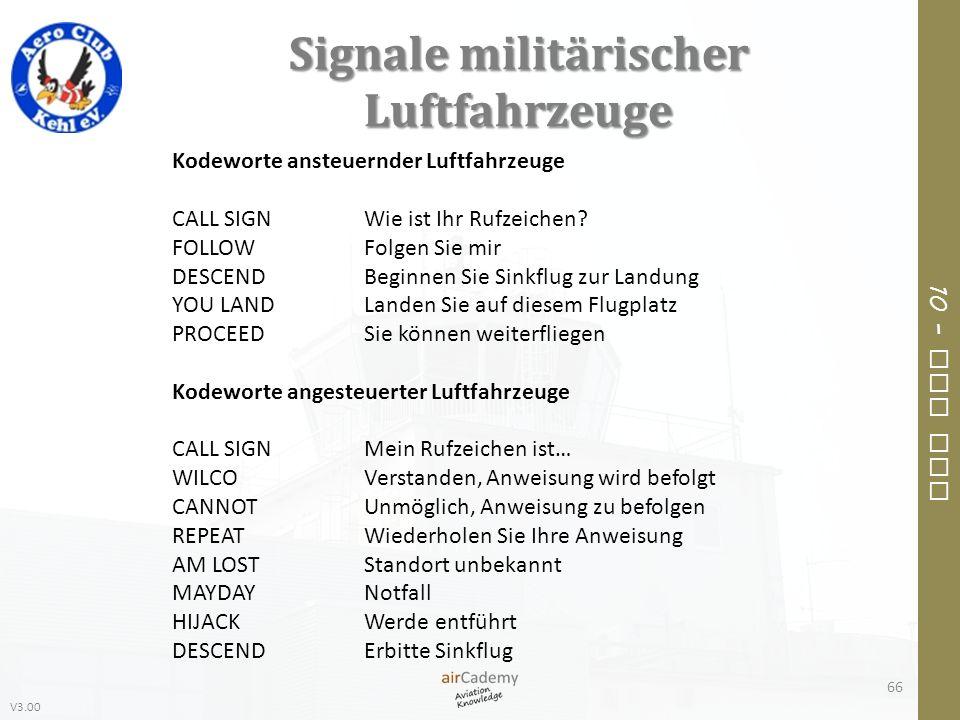 V3.00 10 – Air Law Signale militärischer Luftfahrzeuge 66 Kodeworte ansteuernder Luftfahrzeuge CALL SIGNWie ist Ihr Rufzeichen? FOLLOWFolgen Sie mir D