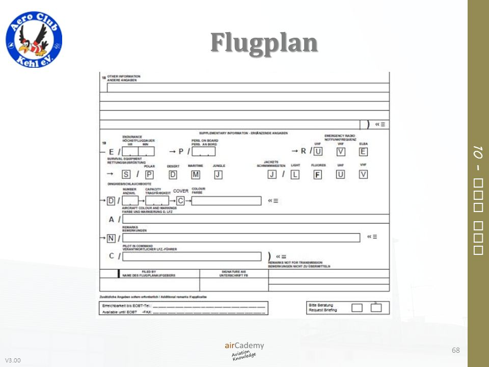 V3.00 10 – Air Law Flugplan 68