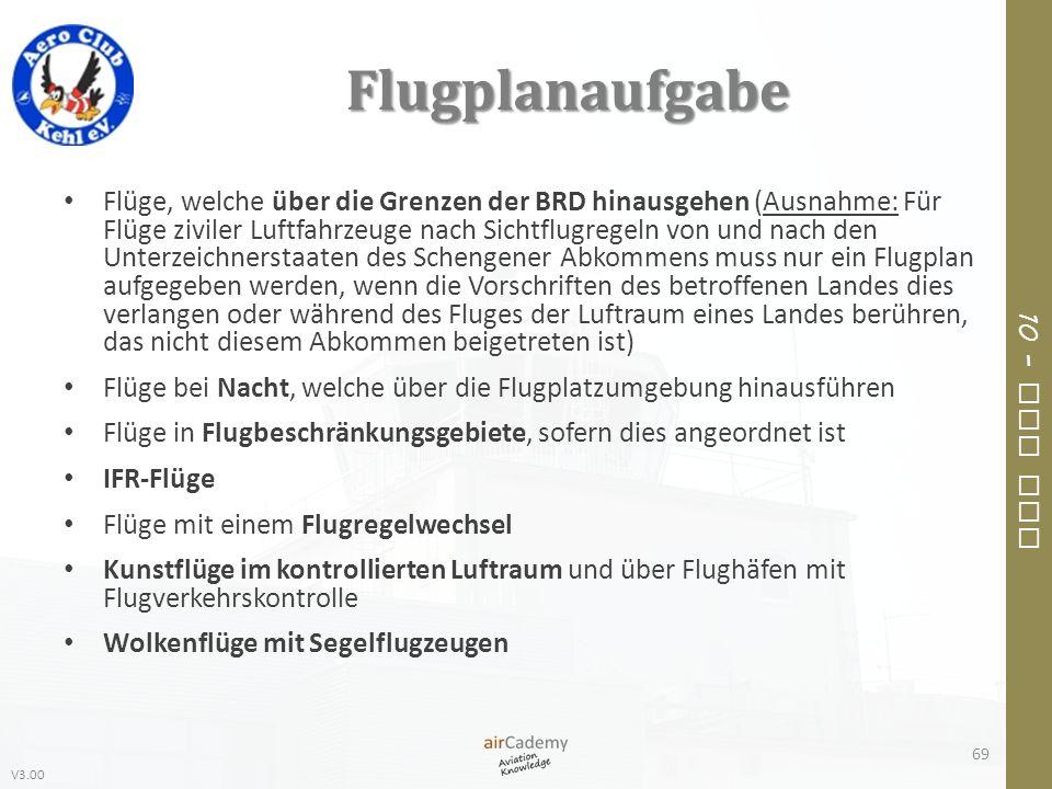 V3.00 10 – Air Law Flugplanaufgabe Flüge, welche über die Grenzen der BRD hinausgehen (Ausnahme: Für Flüge ziviler Luftfahrzeuge nach Sichtflugregeln