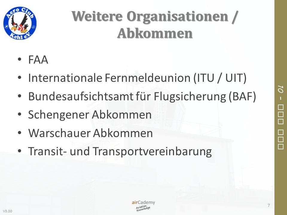 V3.00 10 – Air Law Weitere Organisationen / Abkommen FAA Internationale Fernmeldeunion (ITU / UIT) Bundesaufsichtsamt für Flugsicherung (BAF) Schengen