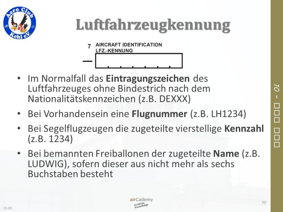 V3.00 10 – Air Law Luftfahrzeugkennung Im Normalfall das Eintragungszeichen des Luftfahrzeuges ohne Bindestrich nach dem Nationalitätskennzeichen (z.B