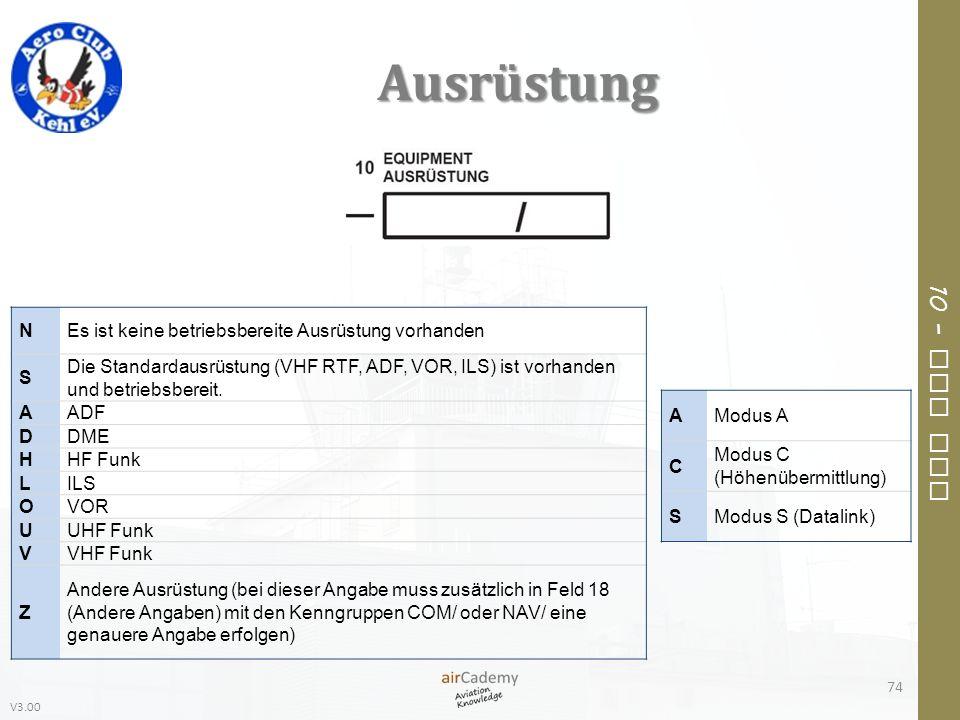 V3.00 10 – Air Law Ausrüstung 74 NEs ist keine betriebsbereite Ausrüstung vorhanden S Die Standardausrüstung (VHF RTF, ADF, VOR, ILS) ist vorhanden un