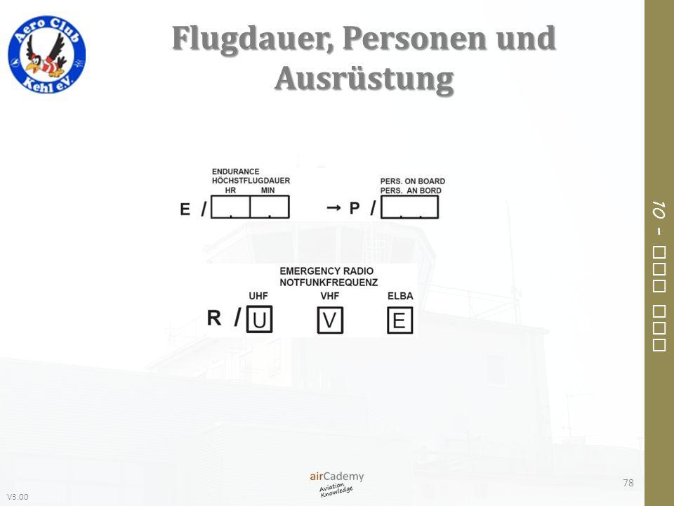 V3.00 10 – Air Law Flugdauer, Personen und Ausrüstung 78