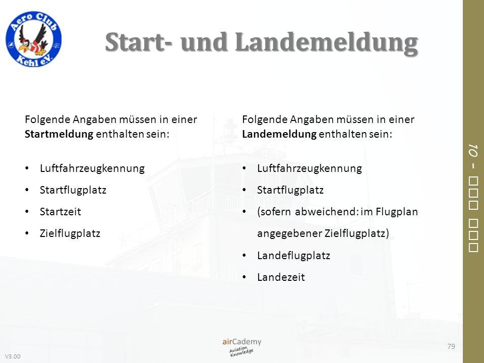 V3.00 10 – Air Law Start- und Landemeldung 79 Folgende Angaben müssen in einer Startmeldung enthalten sein: Luftfahrzeugkennung Startflugplatz Startze
