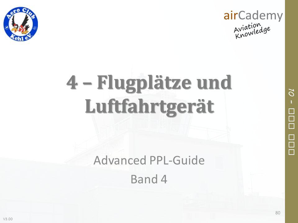V3.00 10 – Air Law 4 – Flugplätze und Luftfahrtgerät Advanced PPL-Guide Band 4 80
