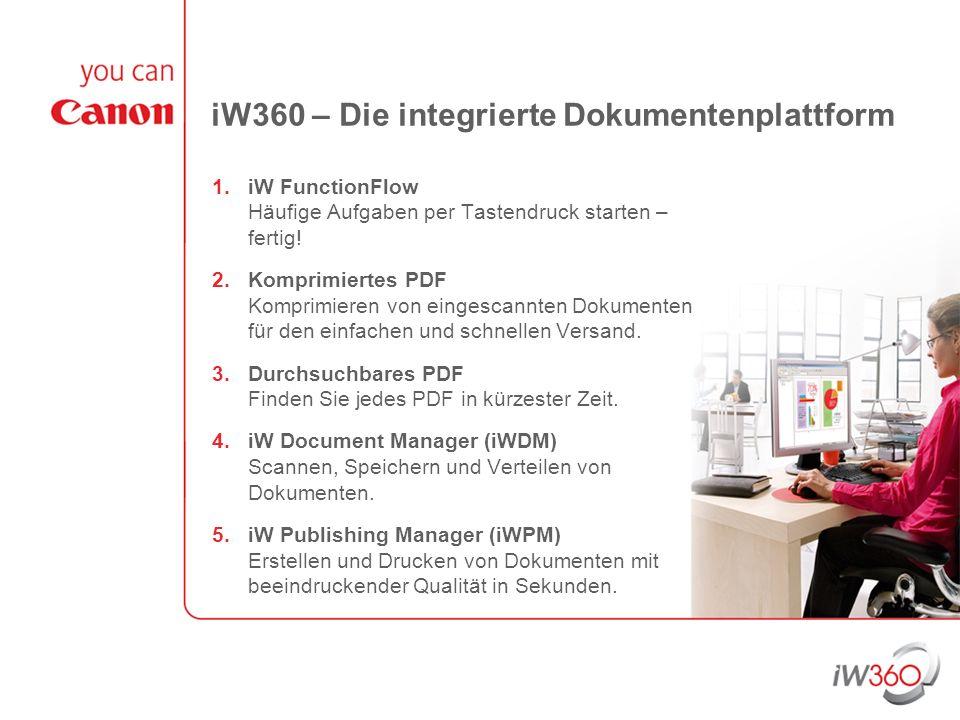 iW360 – Die integrierte Dokumentenplattform 1.iW FunctionFlow Häufige Aufgaben per Tastendruck starten – fertig! 2.Komprimiertes PDF Komprimieren von