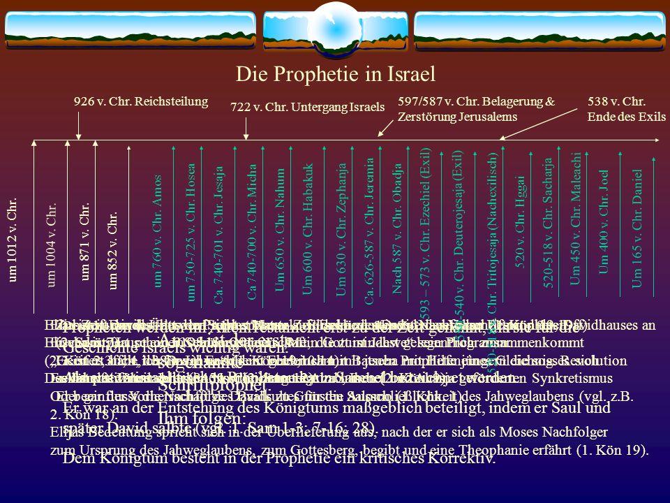 Die Prophetie in Israel Propheten werden im Alten Testament erst zu der Zeit genannt, als sie für die Geschichte Israels wichtig waren. Als ersten isr