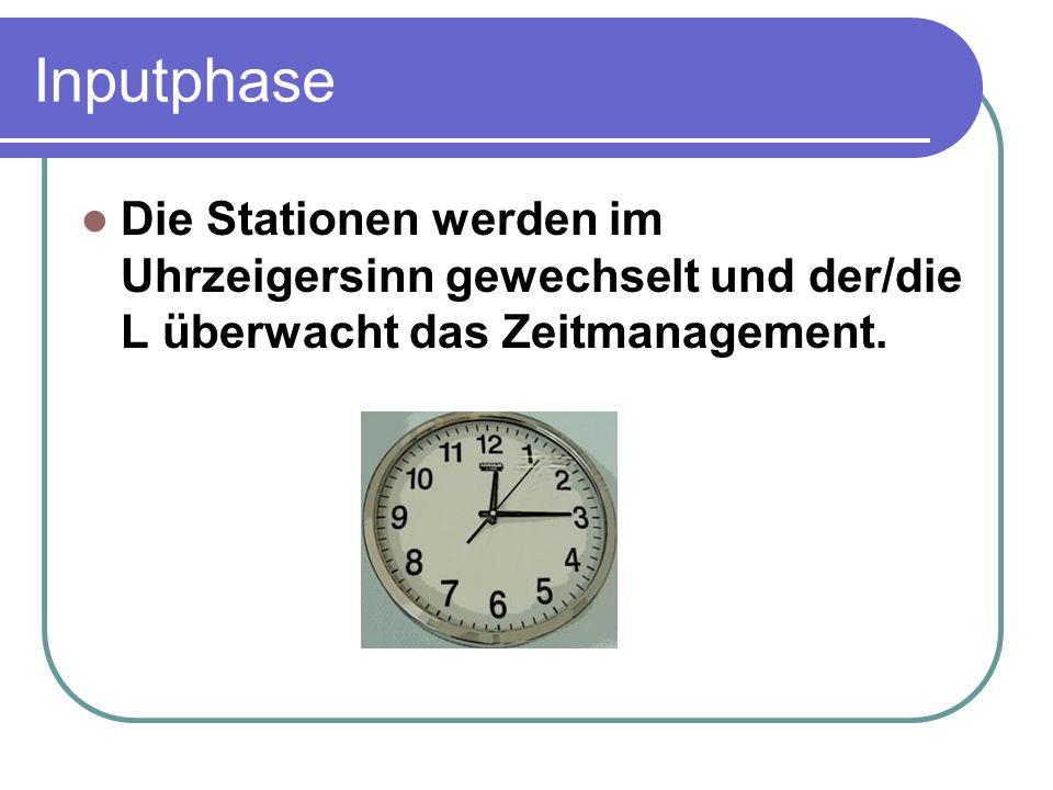 Inputphase Die Stationen werden im Uhrzeigersinn gewechselt und der/die L überwacht das Zeitmanagement.