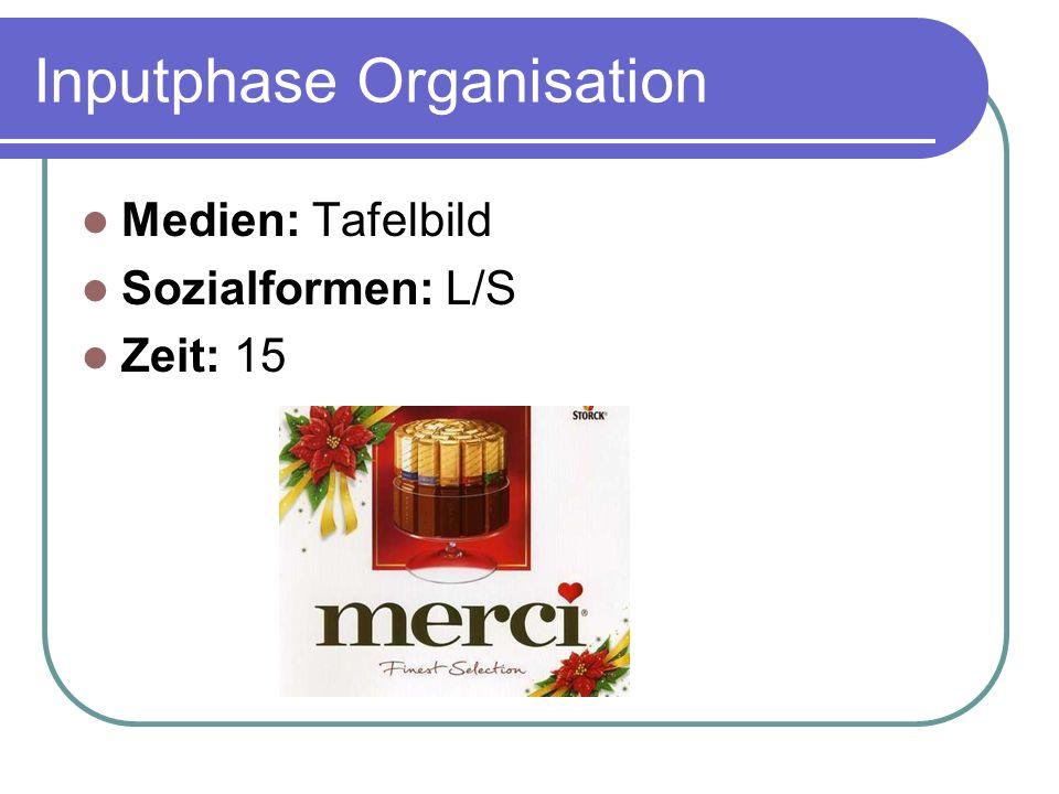 Inputphase Organisation Medien: Tafelbild Sozialformen: L/S Zeit: 15