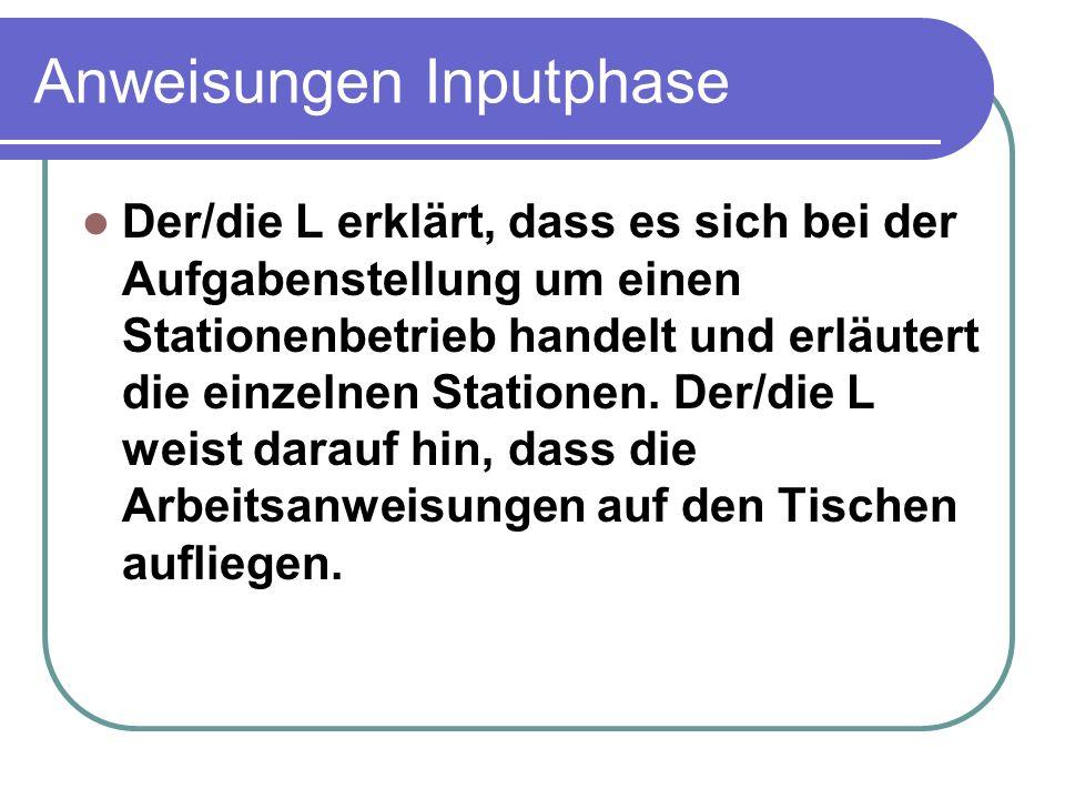 Anweisungen Inputphase Der/die L erklärt, dass es sich bei der Aufgabenstellung um einen Stationenbetrieb handelt und erläutert die einzelnen Statione