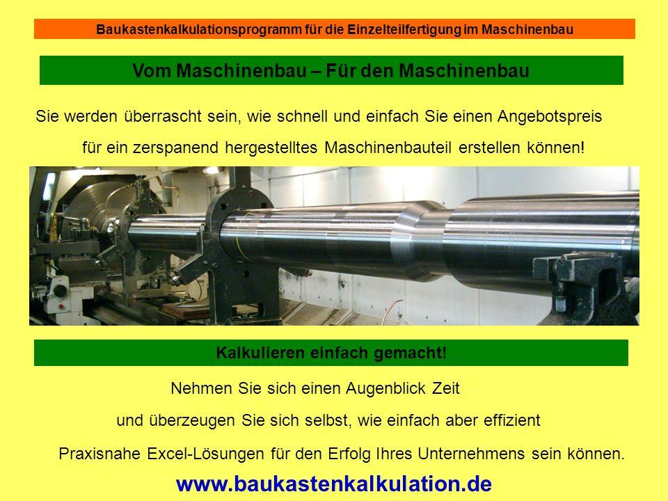 Baukastenkalkulationsprogramm für die Einzelteilfertigung im Maschinenbau Für das Gewindeschneiden geben wir 0,33 min.
