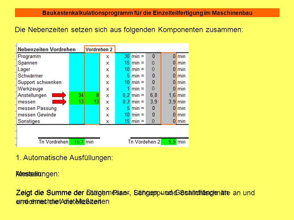 Baukastenkalkulationsprogramm für die Einzelteilfertigung im Maschinenbau Die Nebenzeiten setzen sich aus folgenden Komponenten zusammen: 0 0 0 0 10,7