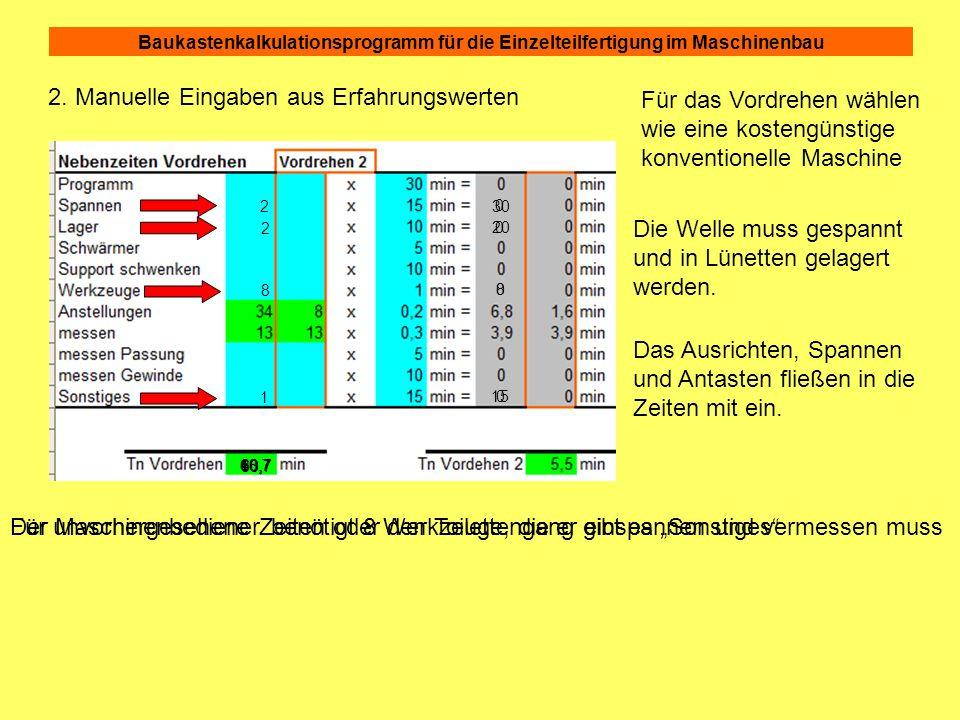 Baukastenkalkulationsprogramm für die Einzelteilfertigung im Maschinenbau 2. Manuelle Eingaben aus Erfahrungswerten 0 0 0 0 10,7 Für das Vordrehen wäh