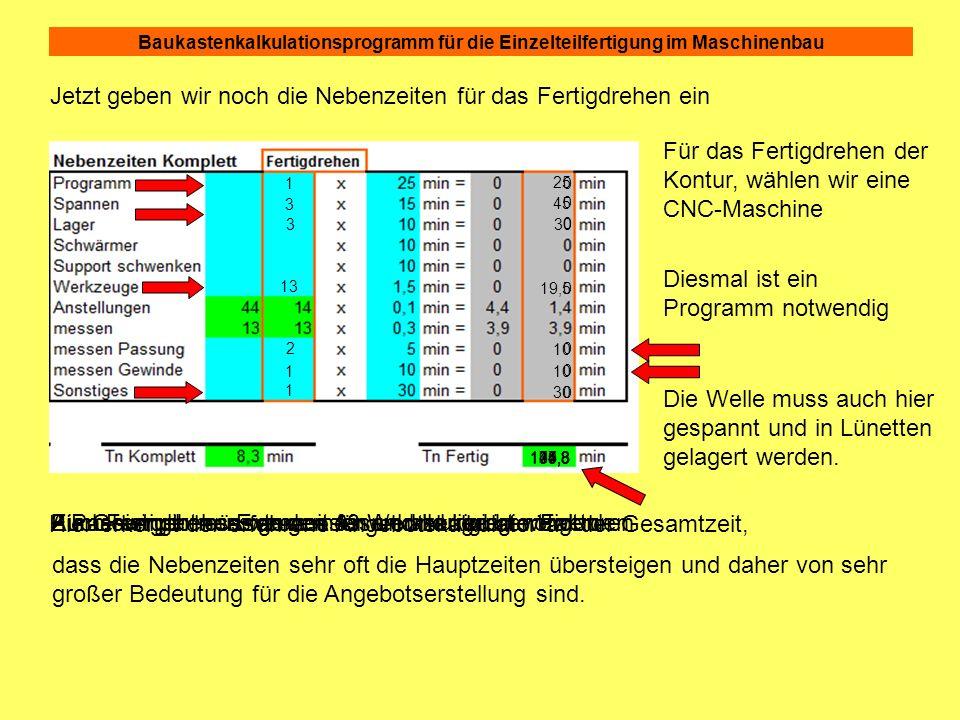 Baukastenkalkulationsprogramm für die Einzelteilfertigung im Maschinenbau 0 0 0 0 0 0 0 5,3 Jetzt geben wir noch die Nebenzeiten für das Fertigdrehen