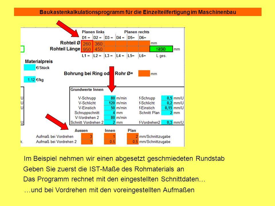 Baukastenkalkulationsprogramm für die Einzelteilfertigung im Maschinenbau 2.