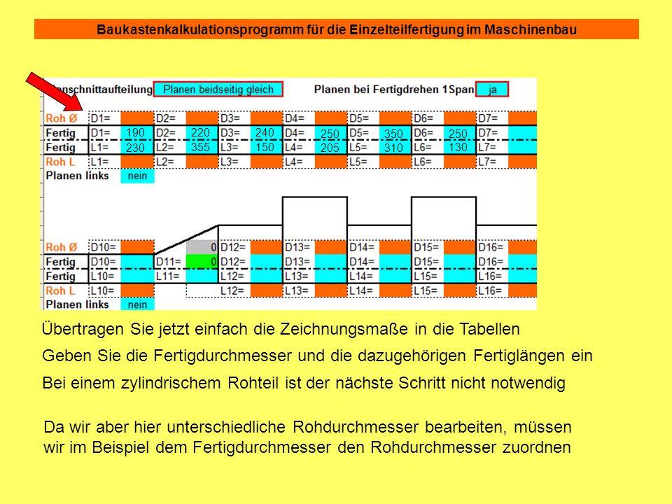 Baukastenkalkulationsprogramm für die Einzelteilfertigung im Maschinenbau In der Gesamtansicht sehen die Nebenzeiten jetzt so aus