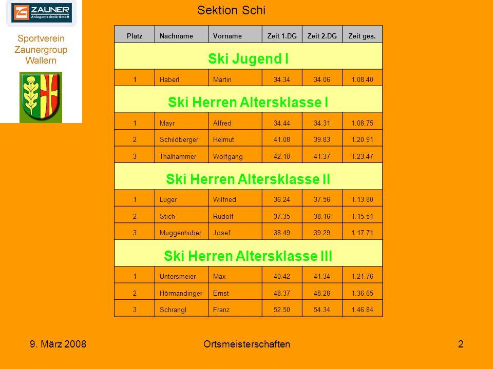 Sektion Schi 9. März 2008Ortsmeisterschaften2 PlatzNachnameVornameZeit 1.DGZeit 2.DGZeit ges.