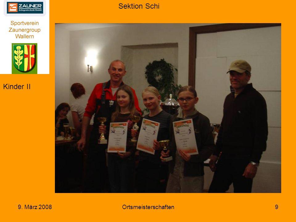 Sektion Schi 9. März 2008Ortsmeisterschaften30