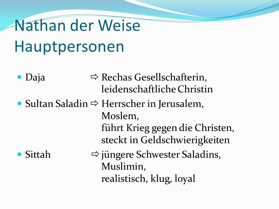 Nathan der Weise Hauptpersonen Daja Rechas Gesellschafterin, leidenschaftliche Christin Sultan Saladin Herrscher in Jerusalem, Moslem, führt Krieg geg