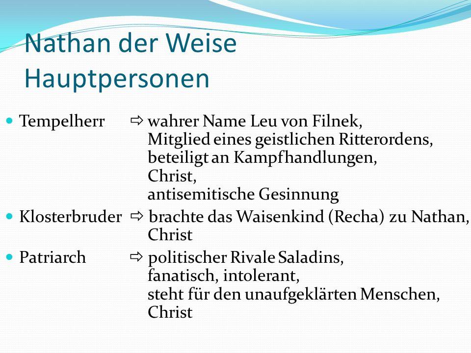Nathan der Weise Hauptpersonen Tempelherr wahrer Name Leu von Filnek, Mitglied eines geistlichen Ritterordens, beteiligt an Kampfhandlungen, Christ, a
