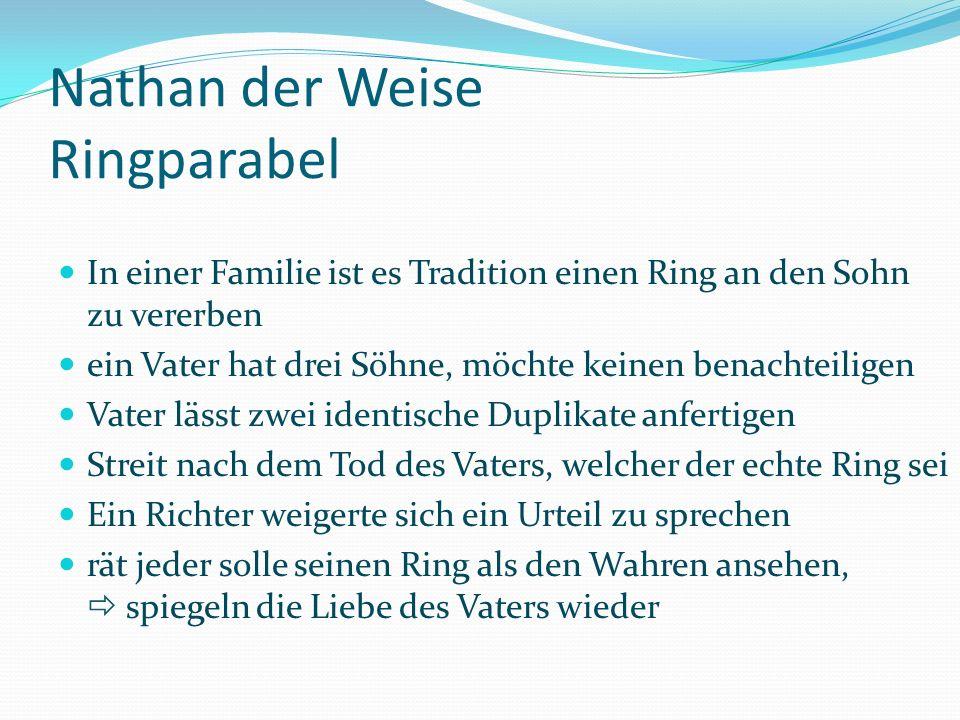 Nathan der Weise Ringparabel In einer Familie ist es Tradition einen Ring an den Sohn zu vererben ein Vater hat drei Söhne, möchte keinen benachteilig