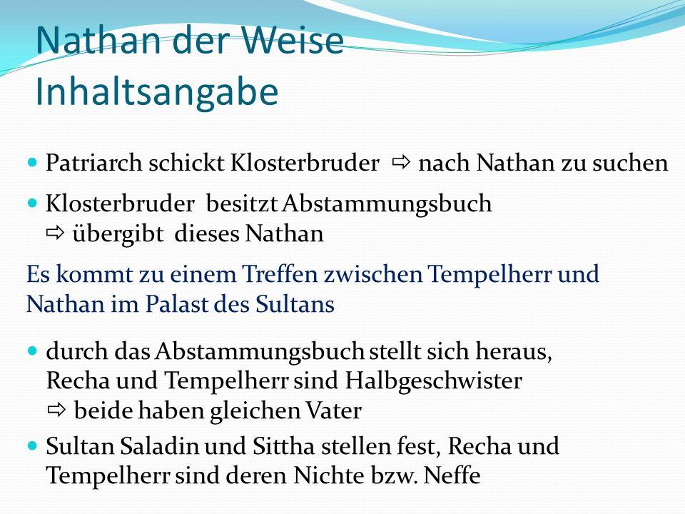 Nathan der Weise Inhaltsangabe Patriarch schickt Klosterbruder nach Nathan zu suchen Klosterbruder besitzt Abstammungsbuch übergibt dieses Nathan Es k