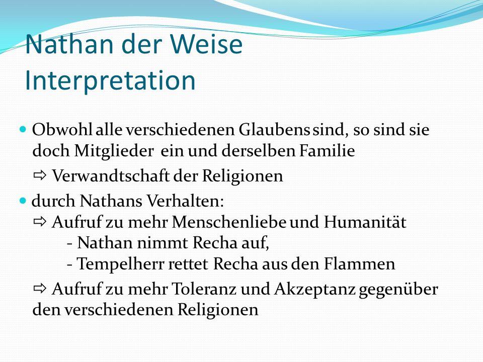 Nathan der Weise Interpretation Obwohl alle verschiedenen Glaubens sind, so sind sie doch Mitglieder ein und derselben Familie Verwandtschaft der Reli
