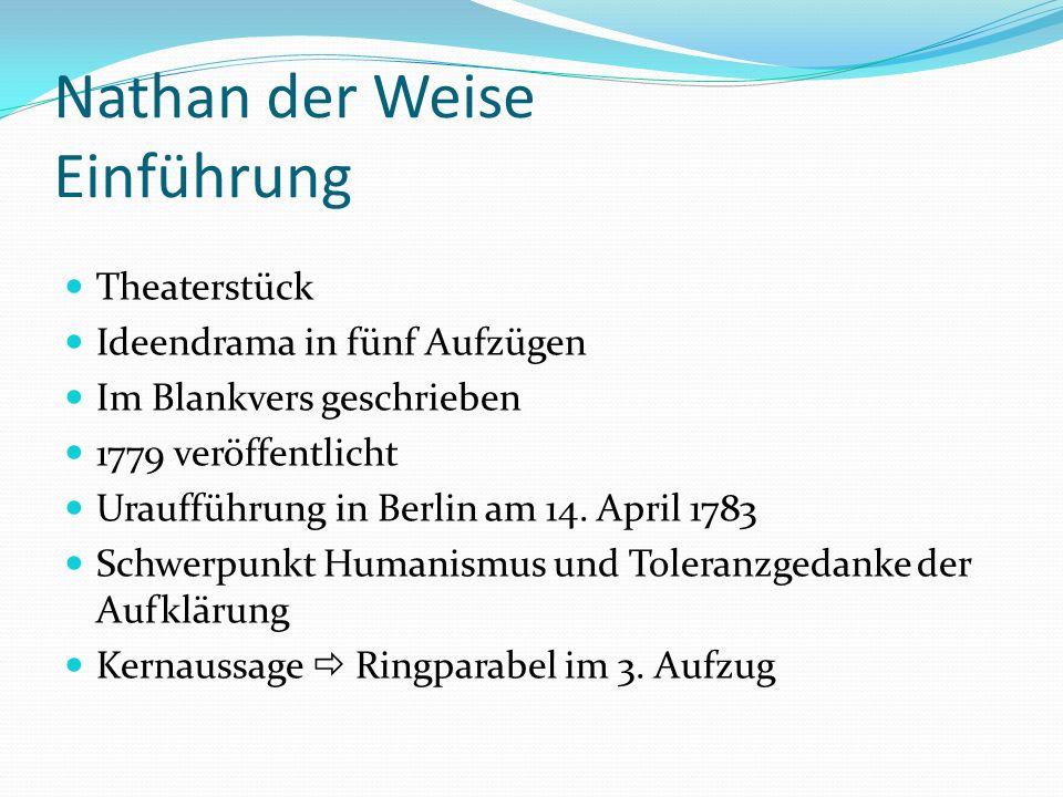 Nathan der Weise Einführung Theaterstück Ideendrama in fünf Aufzügen Im Blankvers geschrieben 1779 veröffentlicht Uraufführung in Berlin am 14. April