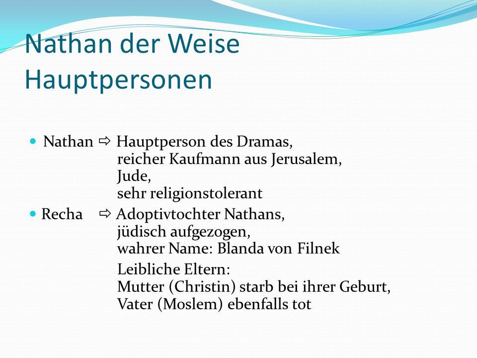 Nathan der Weise Hauptpersonen Nathan Hauptperson des Dramas, reicher Kaufmann aus Jerusalem, Jude, sehr religionstolerant Recha Adoptivtochter Nathan