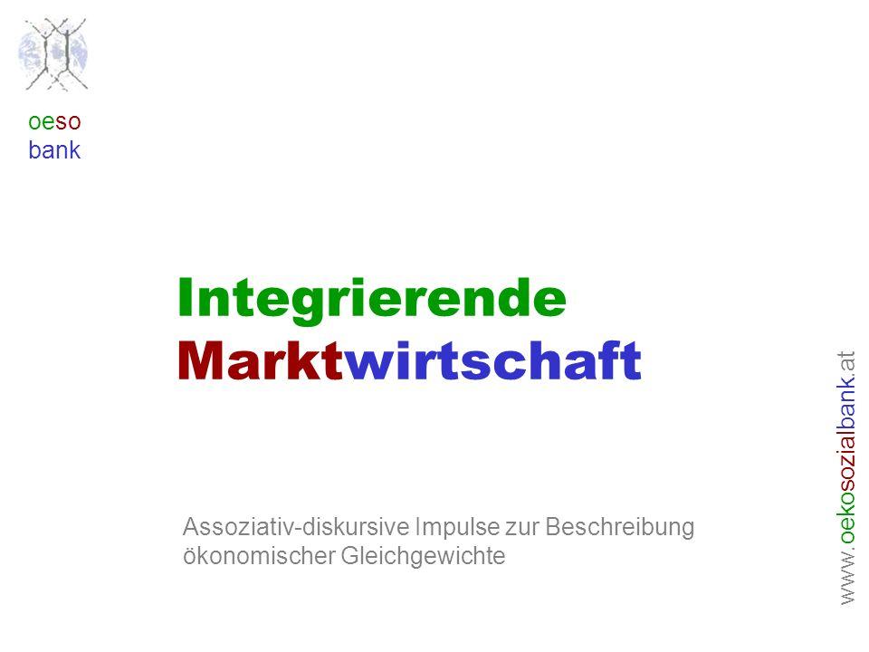 www. oeko sozial bank.at oeso bank Integrierende Marktwirtschaft Assoziativ-diskursive Impulse zur Beschreibung ökonomischer Gleichgewichte