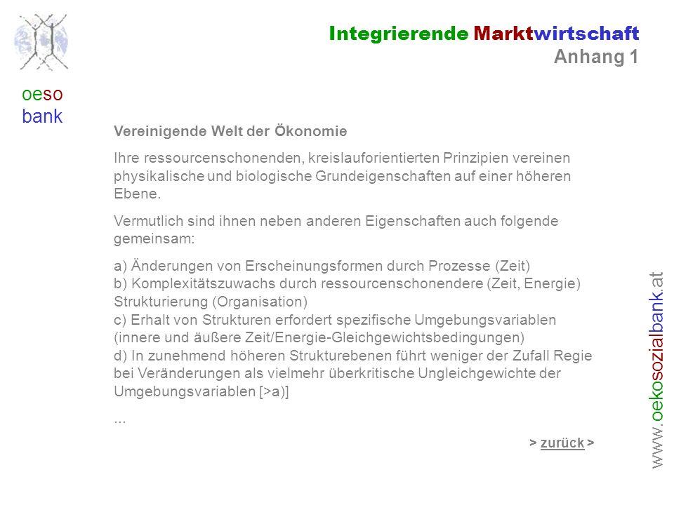 www. oeko sozial bank.at oeso bank Integrierende Marktwirtschaft Anhang 1 Vereinigende Welt der Ökonomie Ihre ressourcenschonenden, kreislauforientier