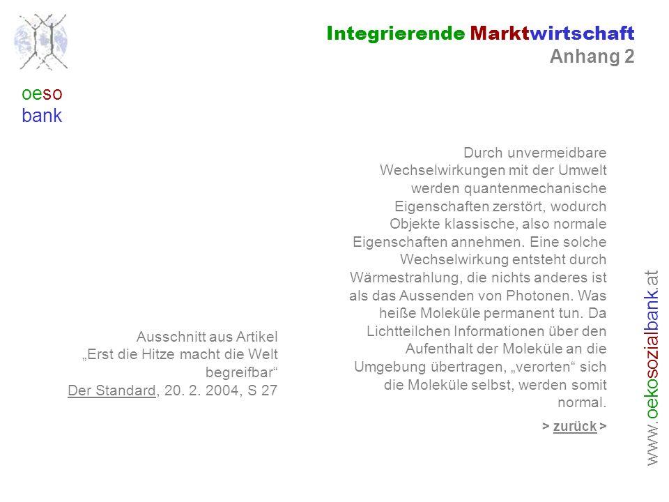 www. oeko sozial bank.at oeso bank Integrierende Marktwirtschaft Anhang 2 Ausschnitt aus Artikel Erst die Hitze macht die Welt begreifbar Der Standard