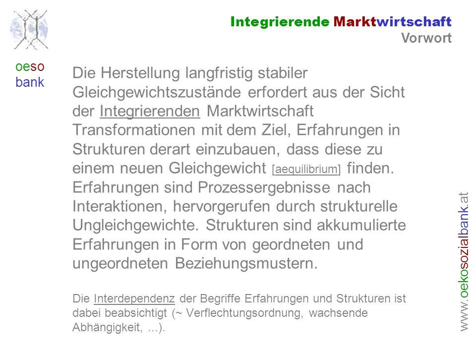 www. oeko sozial bank.at oeso bank Die Herstellung langfristig stabiler Gleichgewichtszustände erfordert aus der Sicht der Integrierenden Marktwirtsch