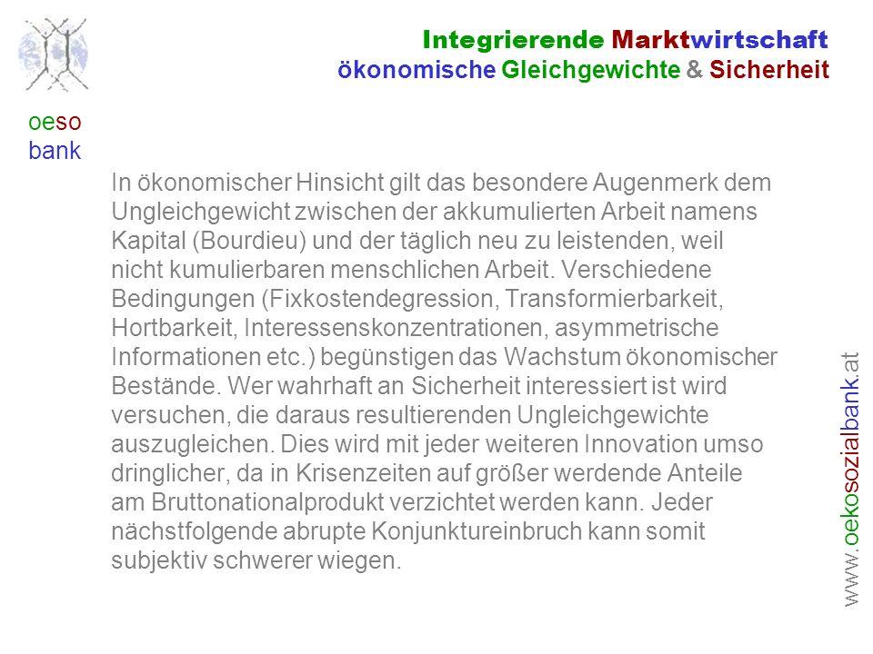 www. oeko sozial bank.at oeso bank In ökonomischer Hinsicht gilt das besondere Augenmerk dem Ungleichgewicht zwischen der akkumulierten Arbeit namens