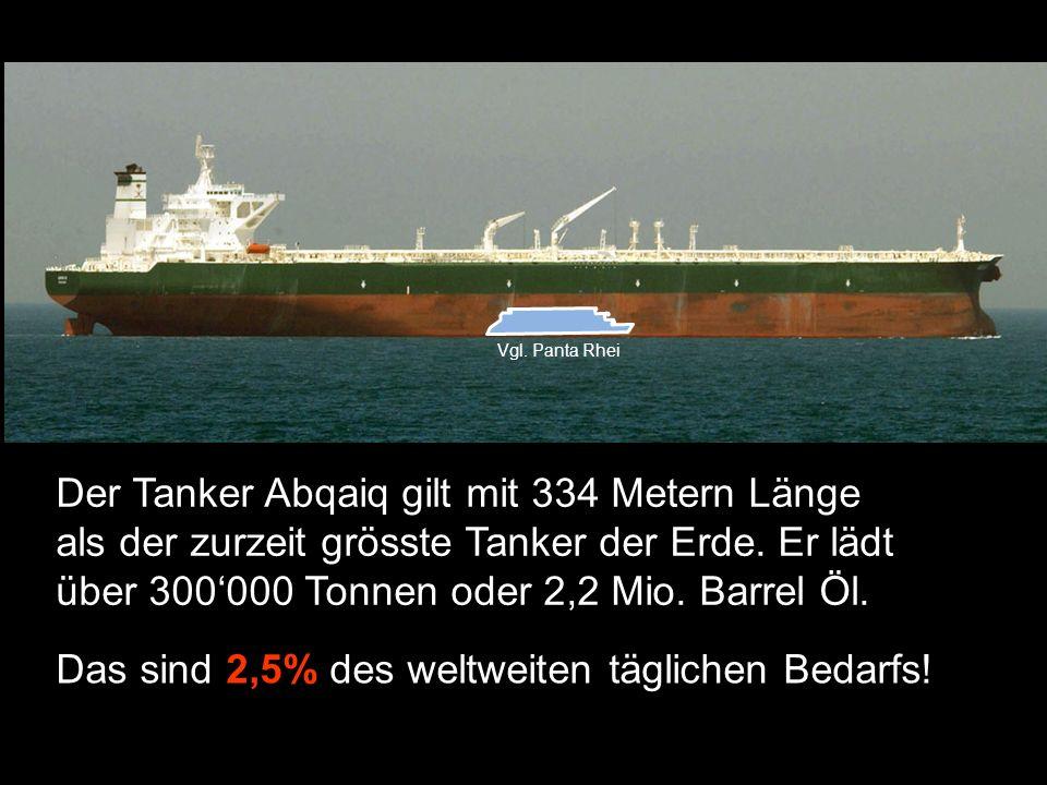 Der Tanker Abqaiq gilt mit 334 Metern Länge als der zurzeit grösste Tanker der Erde.