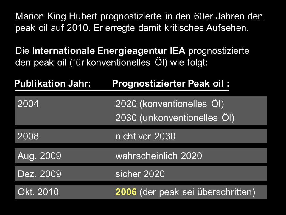 Marion King Hubert prognostizierte in den 60er Jahren den peak oil auf 2010.