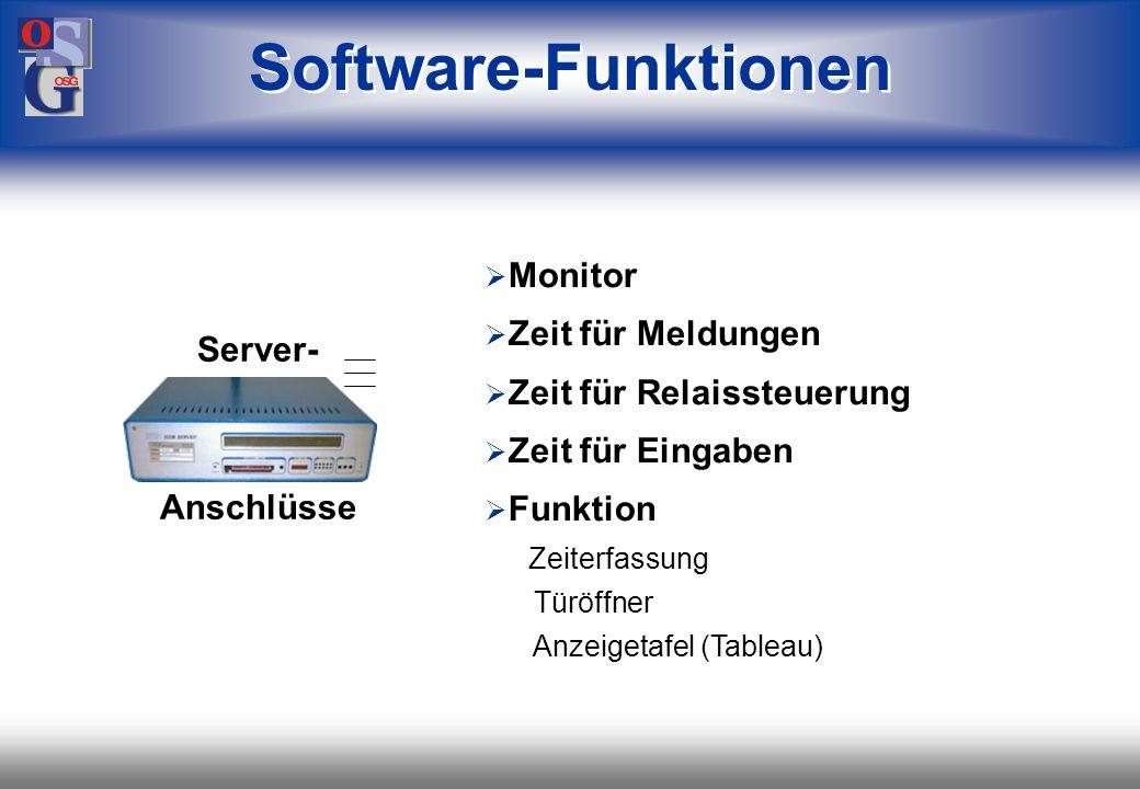 OSG 24 CPU (Intel 8-bit Prozessor) Einschub für Memory Karte (256 KB bis 1MB) Programmier-Anschluß Sommer-/Winterzeit automatisch 2-zeiliges Display (2 x 16 Zeichen) Technische Daten Server