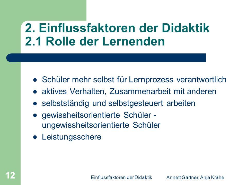 Einflussfaktoren der DidaktikAnnett Gärtner, Anja Krähe 12 2. Einflussfaktoren der Didaktik 2.1 Rolle der Lernenden Schüler mehr selbst für Lernprozes
